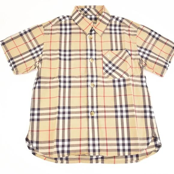 99d1d5806 Burberry Shirts & Tops   Beige Nova Check Logo Short Sleeve Shirt ...